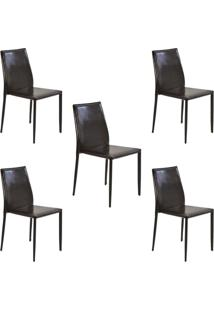Kit 5 Cadeiras Decorativas Sala E Cozinha Karma Pvc Marrom Crocco - Gran Belo - Marrom - Dafiti