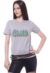 Camiseta Joss Estampada Chill Feminina - Feminino-Mescla