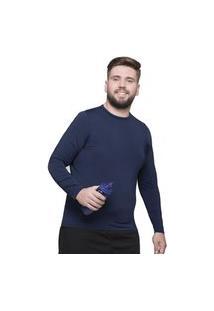 Camisa Térmica Selene Proteçáo Uv Plus Size Masculina - Marinho