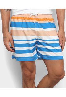 Short New Era Colors Listrado Masculino - Masculino-Branco+Azul