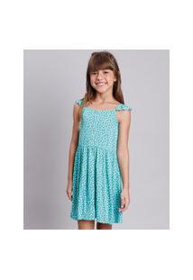 Vestido Infantil Estampado Floral Com Botões E Babado Alça Fina Verde Claro