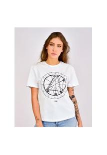 Camiseta Toneh Estampada Mapa Astral Branca Branco