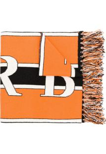 Burberry Cachecol De Cashmere Com Logo - Laranja