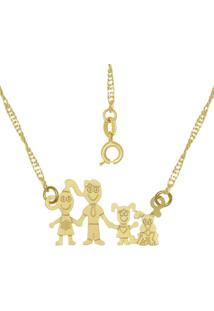 Gargantilha Prata Mil FamãLia - Pa Dourado - Dourado - Feminino - Dafiti