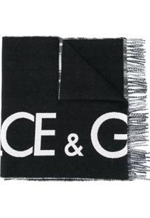 Dolce & Gabbana Cachecol Xadrez Dupla Face De Cashmere E Lã Com Logo - Preto