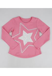 Blusa Infantil Estrela Com Glitter Manga Curta Rosa