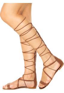 Rasteira My Shoes Gladiadora Marrom