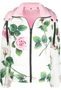 Dolce & Gabbana Jaqueta Matelassê Com Estampa Floral - Branco