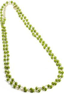 Colar Banho De Ouro Mini Bolinhas De Quartzo Kumbayá Joias - Feminino-Verde