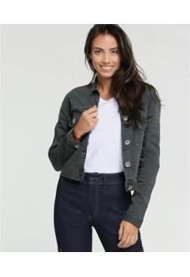 Jaqueta Jeans Doct Cropped Feminina - Feminino-Cinza