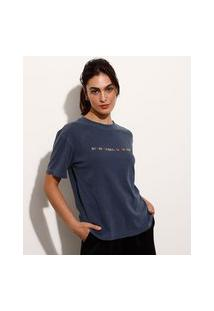 """T-Shirt De Algodão Com Bordado """"No Time For Negative Thoughts"""" Manga Curta Decote Redondo Mindset Azul Marinho"""