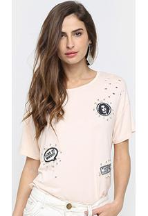 Camiseta Road Mel Com Aplicação Feminina - Feminino-Rosa Claro