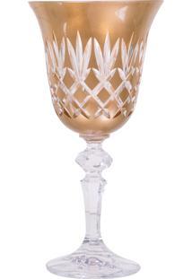 Taça De Cristal Lodz Para Água De 220 Ml – Dourada