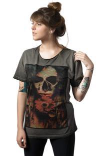 Camiseta Caveira Skull Lab Love Skull Cinza - Cinza - Feminino - Algodã£O - Dafiti