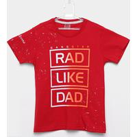 408205934f Camiseta Infantil Estampada Gangster Manga Curta Masculina - Masculino -Vermelho