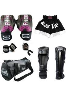 Kit Muay Thai Top Luva Bandagem Bucal Caneleira Shorts Bolsa 08 Oz Iron Fheras - Feminino