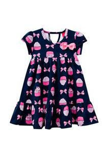 Vestido Infantil - Algodão E Poliéster - Laços E Cupcake - Azul Marinho - Kyly