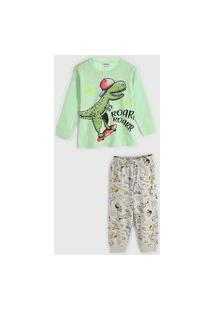 Pijama Fakini Longo Infantil Dinossauro Verde/Cinza