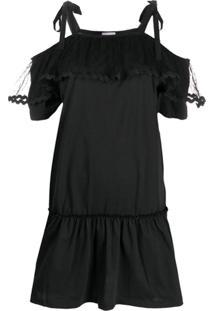 Redvalentino Vestido Midi Com Recortes Em Tule - Preto
