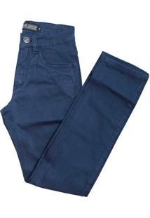 Calça Alfa Sarja Infantil - Masculino-Azul Escuro