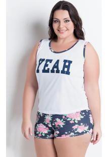 Pijama Curto Branco Com Estampa Plus Size