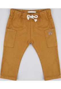 Calça De Sarja Infantil Cargo Com Cordão Caramelo