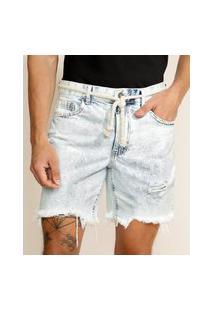 Bermuda Jeans Masculina Reta Destroyed Com Barra Desfiada E Cordão Azul Claro
