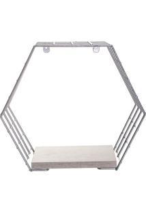 Cubo Hexagonal Com Prateleira Decorativo- Prateado & Cinmetaltru