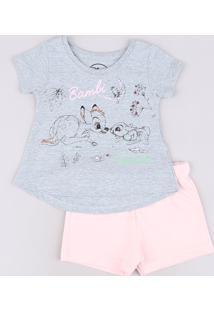 Conjunto Infantil Bambi De Blusa Manga Curta Cinza Mescla + Short Em Moletom Rosa Claro
