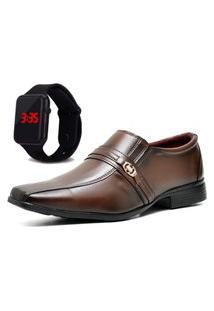 Sapato Social Com Relógio Led Dubuy 806Mr Marrom
