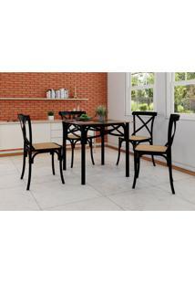 Conjunto De Mesa De Jantar Com 4 Cadeiras E Tampo De Vidro Katrina Preto