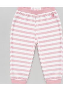 Calça Infantil Em Plush Listrada Rosa Claro