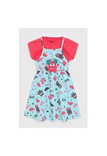 Vestido Elian Infantil Monstrinho Azul/Vermelho