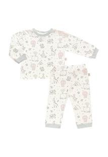 Pijama Longo Estampado Plush - Anjos Baby Cinza Chumbo/Preto