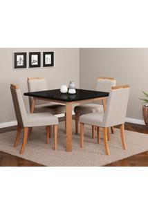 Conjunto De Mesa De Jantar Espanha Com 4 Cadeiras Linho Preto E Bege