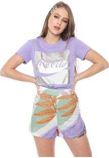 Camiseta Coca-Cola Jeans Estampada Lilás