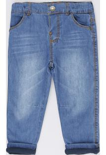 Calça Jeans Infantil Com Forro Em Malha Azul Médio