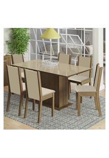 Conjunto Sala De Jantar Madesa Moscou Plus Mesa Tampo De Vidro Com 6 Cadeiras Marrom