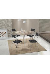 Conjunto Mesa 1504 Nogueira Cromada Com 4 Cadeiras 1701 Fantasia Preto Carraro