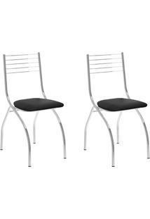 Conjunto 2 Cadeiras Tubo Cromado Tecido Preto Carraro