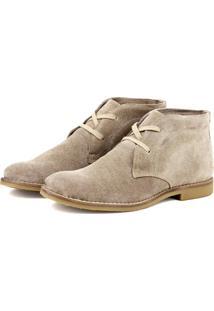 Bota Desert Boots Escrete Em Couro Camurça Creme