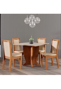 Conjunto De Mesa Luana 95Cm Para Sala De Jantar Com 4 Cadeiras Livia-Cimol - Savana / Off White / Sued Marfim
