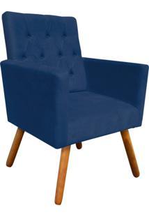 Poltrona Decorativa Nina Capitonê Suede Azul Marinho D'Rossi