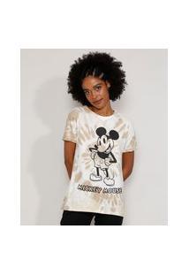 Camiseta Feminina Manga Curta Mickey Estampada Tie Dye Decote Redondo Bege