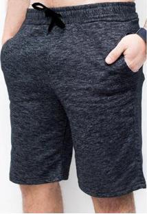 Bermuda Basica De Moletom Suffix Bolso Jeans Masculina - Masculino-Preto