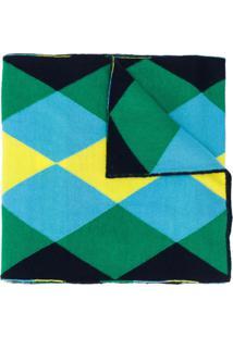 Pringle Of Scotland Cachecol De Lã Merino Com Padronagem De Losangos - Azul