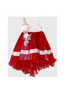 Vestido De Alça Lua Dance Cauda De Tule Poá Vermelho