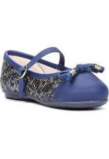 Sapato Infantil Para Bebê Menina Azul Marinho