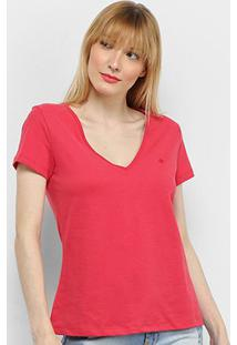 Camiseta Forum Gola V Feminina - Feminino-Vermelho Escuro