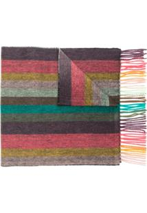 Paul Smith Cachecol Listrado De Cashmere - Cinza